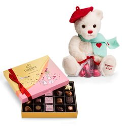 Limited Edition Plush Teddy Bear & Assorted Chocolate Gift Box, 20 pc.