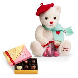 Limited Edition Plush Teddy Bear & Assorted Chocolate Gift Box, 6 pc.