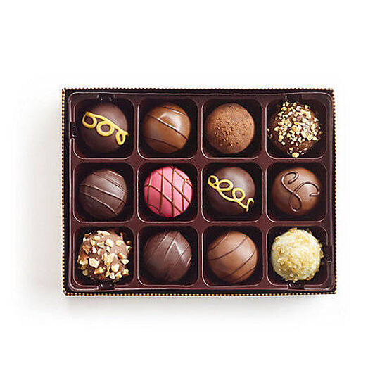 Signature Chocolate Truffle Gift Box, Personalized Navy Ribbon, 12 pc. image number null