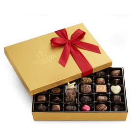Assorted Chocolate Gold Gift Box, Red Holiday Ribbon, 36 pc.