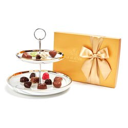Tiered Marbleized Pedestal with Assorted Chocolate Gift Box, 36 pc.