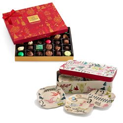 12 Days of Christmas Plate Set with Assorted Chocolate Seasonal Gift Box, 32 pc.