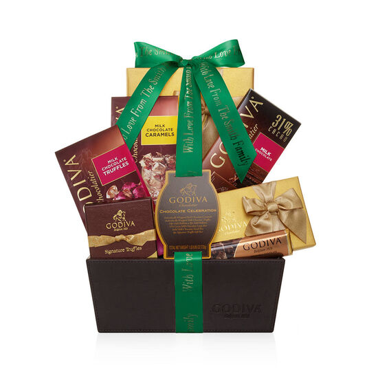 Chocolate Celebration Gift Basket, Personalized Forest Green Ribbon image number null