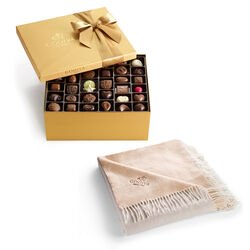 Godiva Throw with Assorted Chocolate Gold Gift Box, 140 pc.