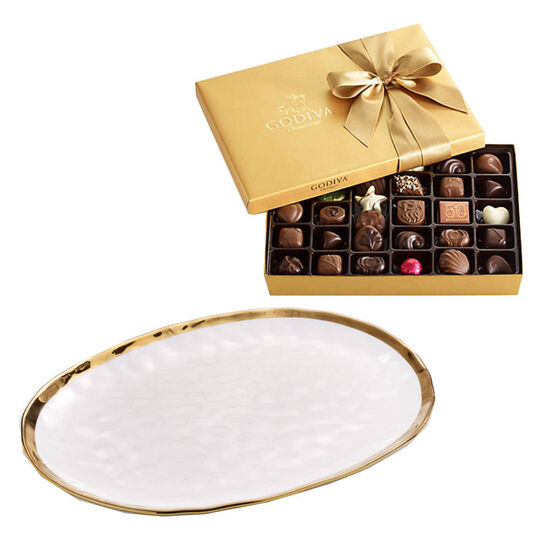 Oval Platter with Assorted Chocolate Gift Box, 36 pc. image number null