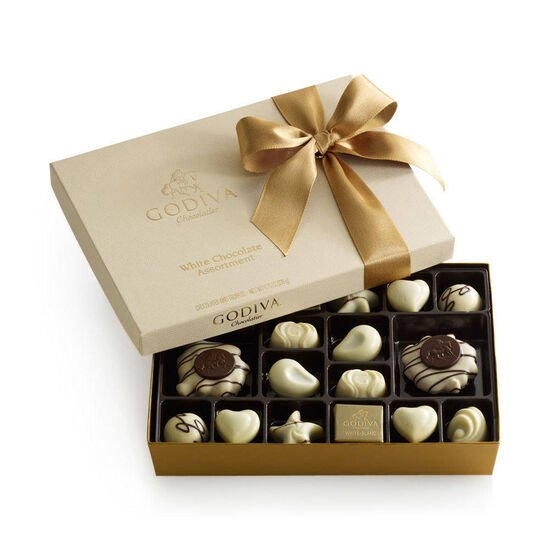 White Chocolate Assortment Gift Box, Classic Ribbon, 24 pc. image number null