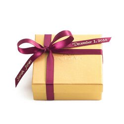 Assorted Chocolate Gold Favor, Personalized Wine Ribbon, 4 pc.