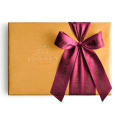 Assorted Chocolate Gold Gift Box, Personalized Wine Ribbon, 36 pc.