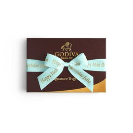 Signature Truffles Gift Box, Personalized Aqua Ribbon, 24 pc.