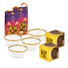 Set of 4 Gold Serving Bowl with Halloween Pouch and Salted Caramel G Cubes