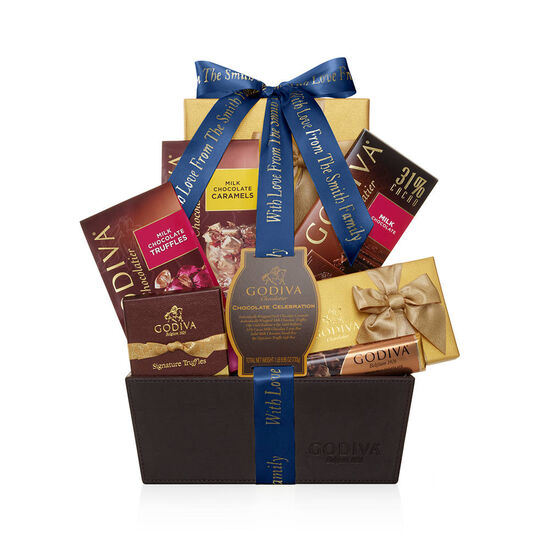 Chocolate Celebration Gift Basket, Personalized Navy Ribbon image number null