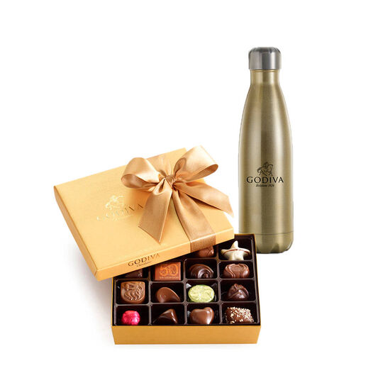 Godiva Water Bottle by S'well® with Assorted Chocolate Gold Gift Box, 19 pc. image number null