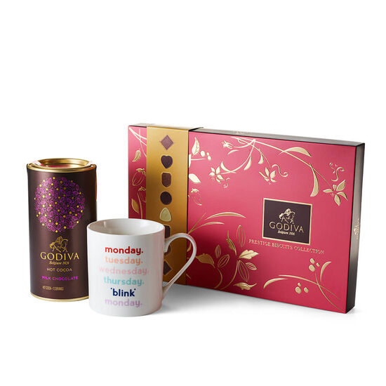 Blink Mug with Milk Chocolate Hot Cocoa and Assorted Biscuit Gift Box image number null