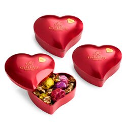 2020 Collectors' Edition Valentine's Day Chocolate Heart Tin, Set of 3, 12 pc. each