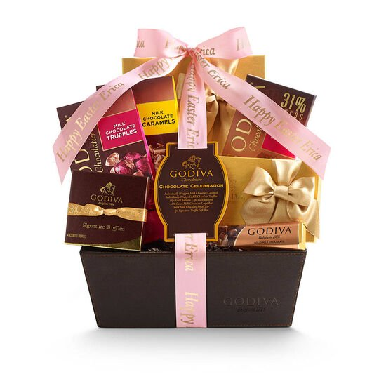 Chocolate Celebration Gift Basket, Personalized Pink Ribbon image number null
