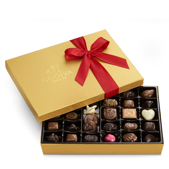 Gold Serving Bowl with Assorted Chocolate Gold Gift Box, Classic Ribbon, 36 pc. image number null