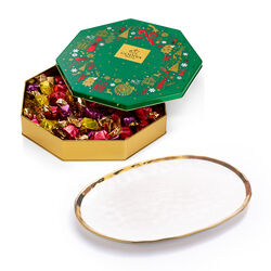 Oval Platter with Holiday Tin Assorted Wrapped Truffles, 50 pc.