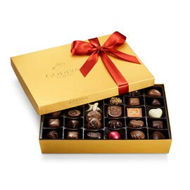 Assorted Chocolate Gold Gift Box, Fall Ribbon, 36 pc.