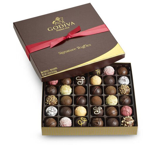 Signature Truffle Gift Box, Red Ribbon, 36 pc. image number null