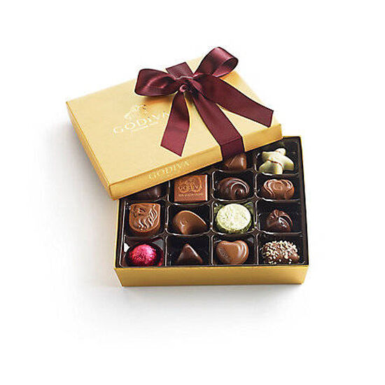 Assorted Chocolate Gold Gift Box, Wine Ribbon, 19 pc. image number null