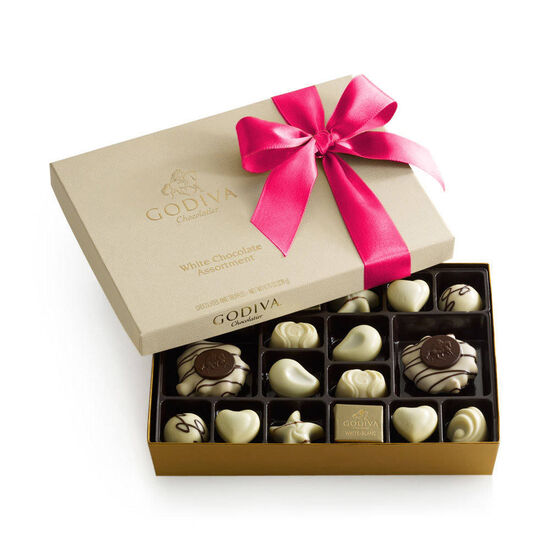 White Chocolate Gift Box, Hot Pink Ribbon, 24 pc. image number null