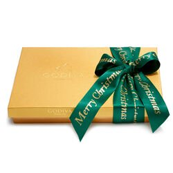 Merry Christmas Assorted Chocolate Gold Gift Box, Forest Green Ribbon, 36 pc.
