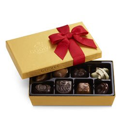 Valentine's Day Assorted Chocolate Gold Gift Box, Red Ribbon, 8 pc.