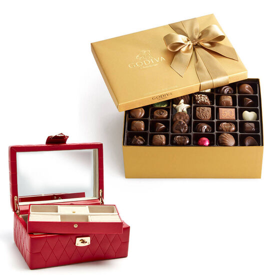 Red Caroline Jewelry Case with Assorted Chocolate Gold Gift Box, 105 pc. image number null