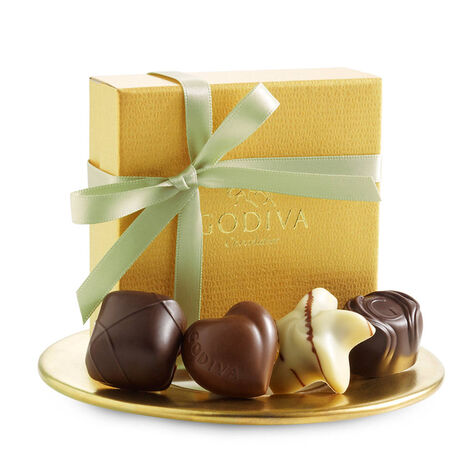 Assorted Chocolate Gold Favor, Sage Green Ribbon, 4 pc.