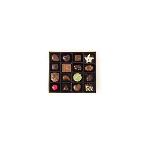 $100 Holiday Gift Card & Assorted Chocolate Gold Gift Box, Red Ribbon, 19 pc.