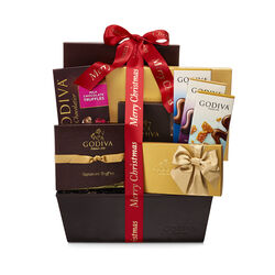 Chocolate Connoisseur Basket, Merry Christmas Ribbon
