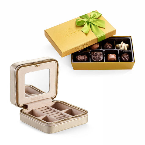 Leather Travel Jewelry Case with Spring Assorted Chocolate Gift Box, 8 pc.