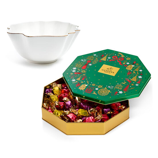Luxury Gold Bowl with Limited Edition Holiday Tin Assorted Wrapped Truffles, 50 pc. image number null