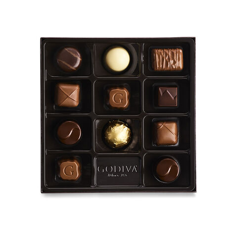 Holiday Assorted Chocolate Gift Box, Set of 4, 9 pc. each