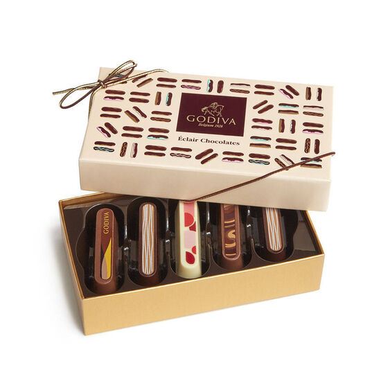 Godiva Cotton Throw Blanket with Chocolate Eclairs Gift Box, 5 pc. image number null