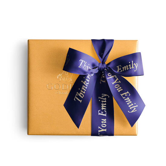 Assorted Chocolate Gold Gift Box, Personalized Purple Ribbon, 19 pc. image number null