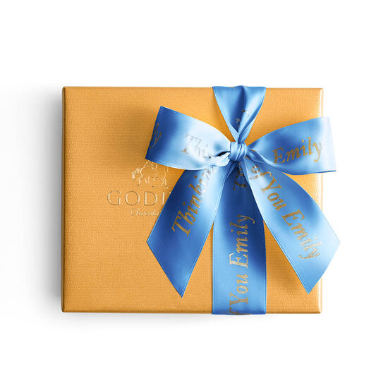 Assorted Chocolate Gold Gift Box, Personalized Royal Blue Ribbon, 19 pc. image number null