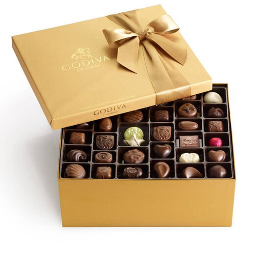 Assorted Chocolate Gold Gift Box, Classic Ribbon, 140 pc. image number null
