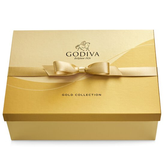 Assorted Chocolate Gold Gift Box, Gold Ribbon, 105 pc. image number null