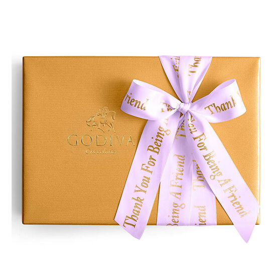 Assorted Chocolate Gold Gift Box, Personalized Orchid Ribbon, 70 pc. image number null