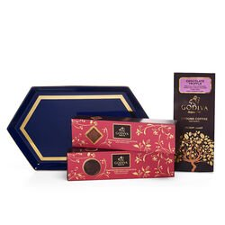 Navy Serving Tray, Chocolate Biscuits and Truffle Coffee Gift Set