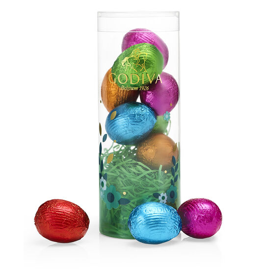 Assorted Foil-Wrapped Chocolate Easter Egg Tube, 9 pc. image number null