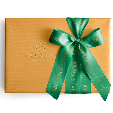 Assorted Gold Gift Box, Personalized Forest Green Ribbon, 70 pc.