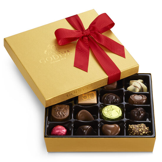Assorted Chocolate Gold Gift Box, Holiday Ribbon, 19 pc. image number null