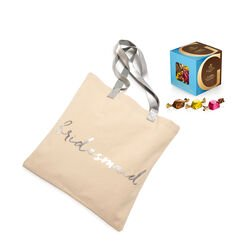 Bridesmaid Tote Bag with Milk Chocolate Assortment G Cube Box, 22 pcs.