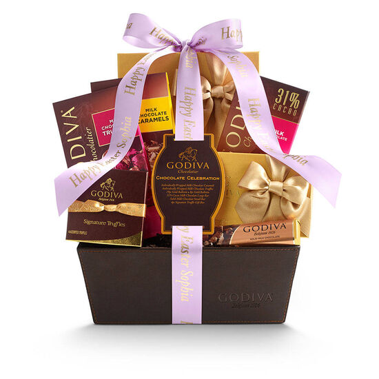 Chocolate Celebration Gift Basket, Personalized Light Orchid Ribbon image number null