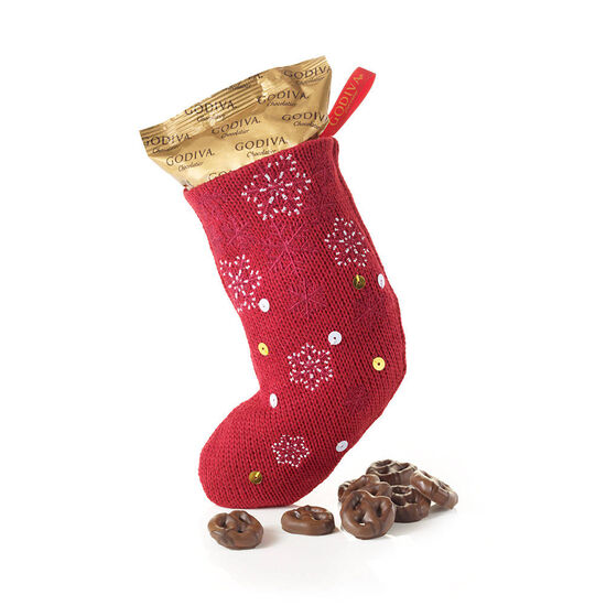 Holiday Stocking with Milk Chocolate Pretzels image number null