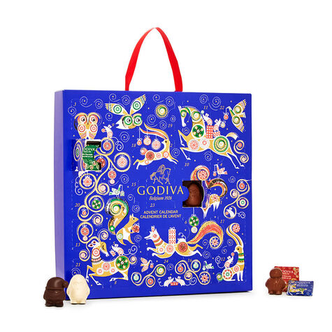 Holiday Chocolate Advent Calendar 2017, 24 pc. and Limited Edition Holiday Tin, Assorted Wrapped Truffles, 50 pc.