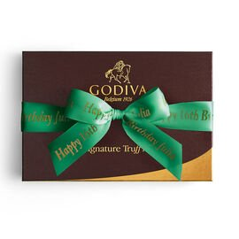 Signature Truffles Gift Box, Personalized Forest Green Ribbon, 24 pc.