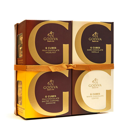 Coffee Lovers G Cube Gift Box, Gold Ribbon image number null